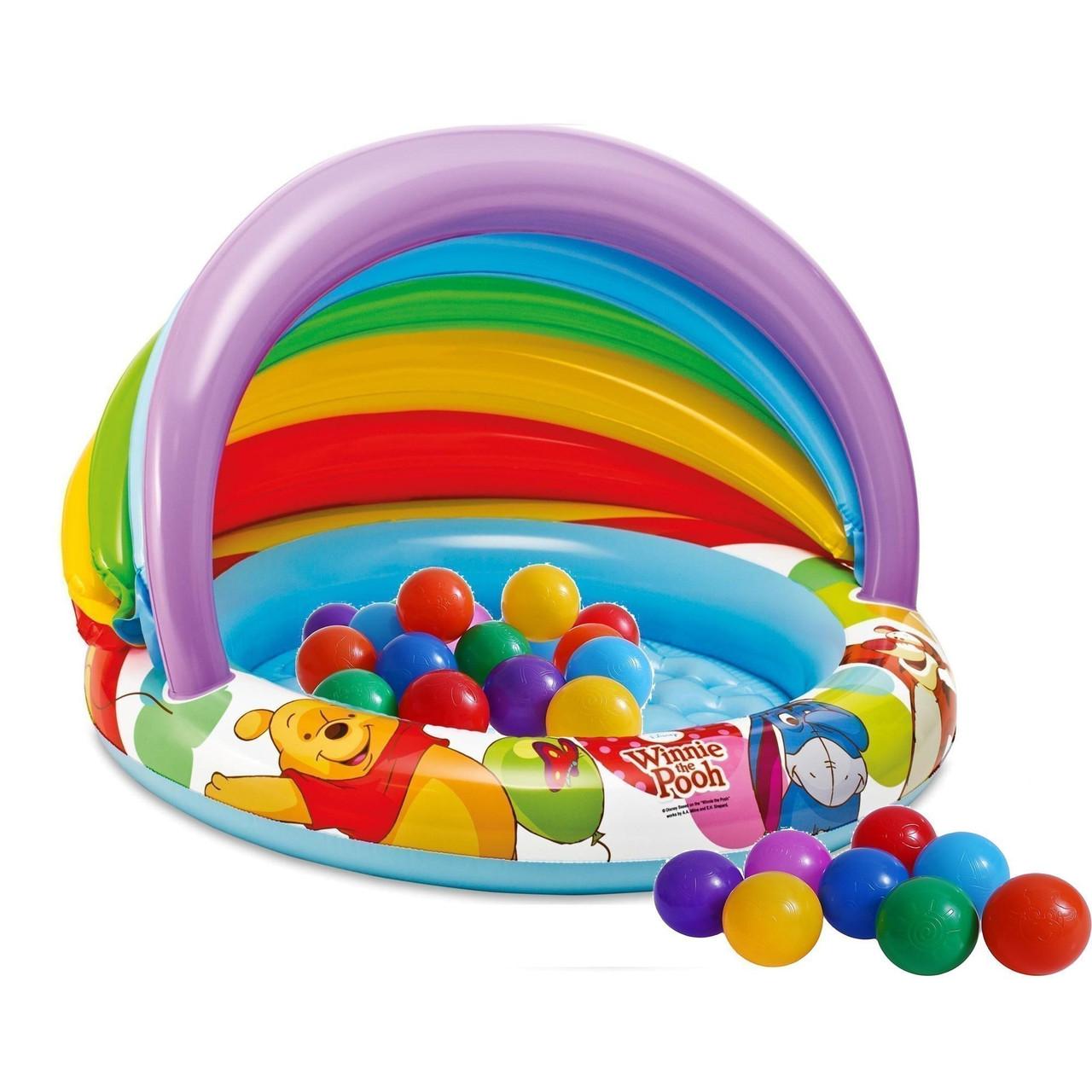 """Детский надувной бассейн Intex """"Винни Пух"""" с навесом, с шариками 30 шт."""