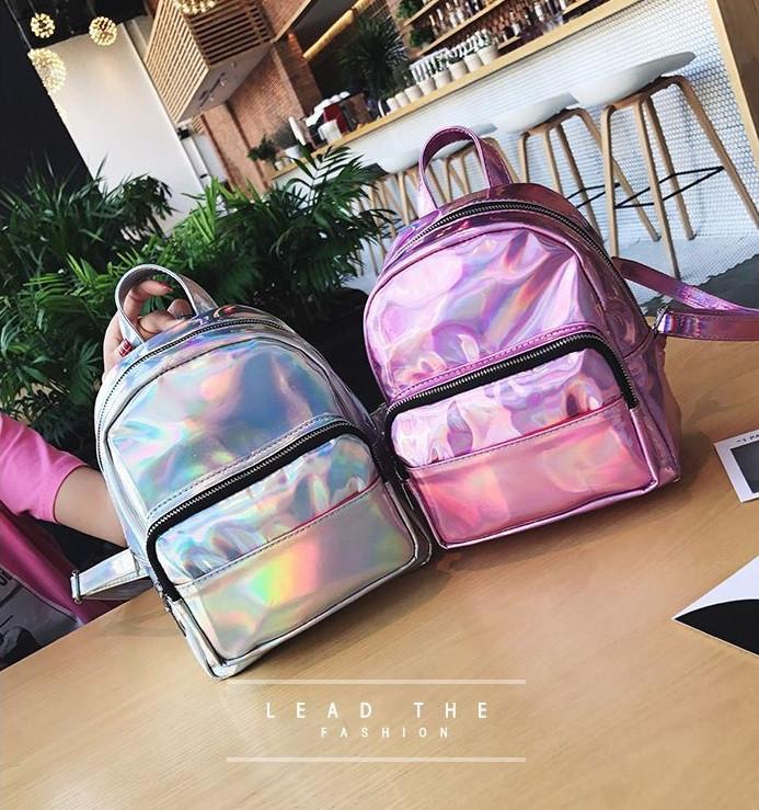 Детский блестящий рюкзак отражающий