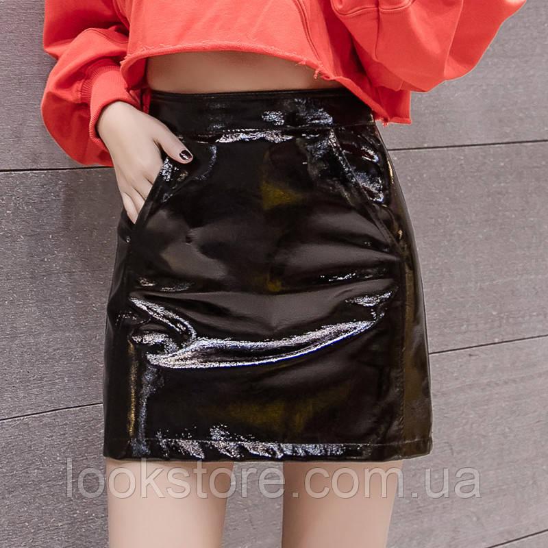 Женская юбка лаковая черная Л(44)