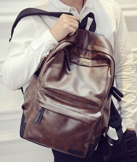 51ab28aabb29 Мужской кожаный рюкзак (экокожа) Коричневый - Интернет-магазин