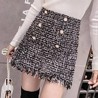 Женская твидовая юбка с пуговицами в стиле Шанель черная, фото 1