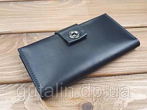Гаманець з натуральної шкіри ручної роботи з кнопкою Італія колір чорний