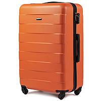 Средний пластиковый чемодан Wings 401 на 4 колесах оранжевый, фото 1