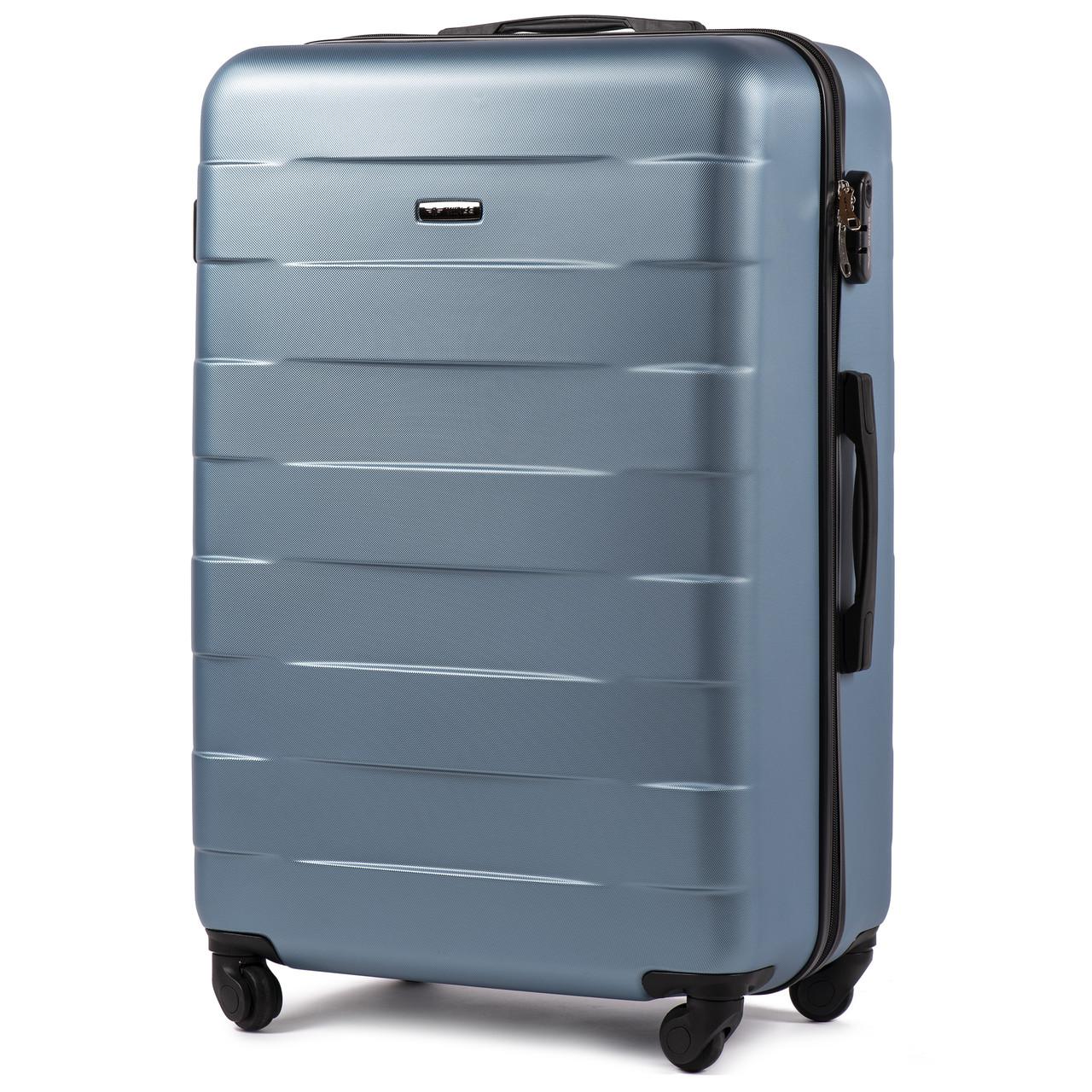 Средний пластиковый чемодан Wings 401 на 4 колесах синий