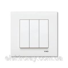 Выключатель трехклавишный белый Viko Karre