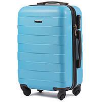 Малый пластиковый чемодан Wings 401 на 4 колесах голубой