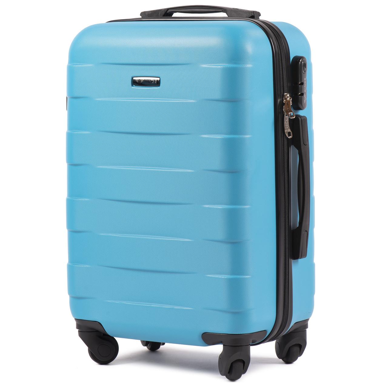 Малый пластиковый чемодан Wings 401 на 4 колесах голубой, фото 1