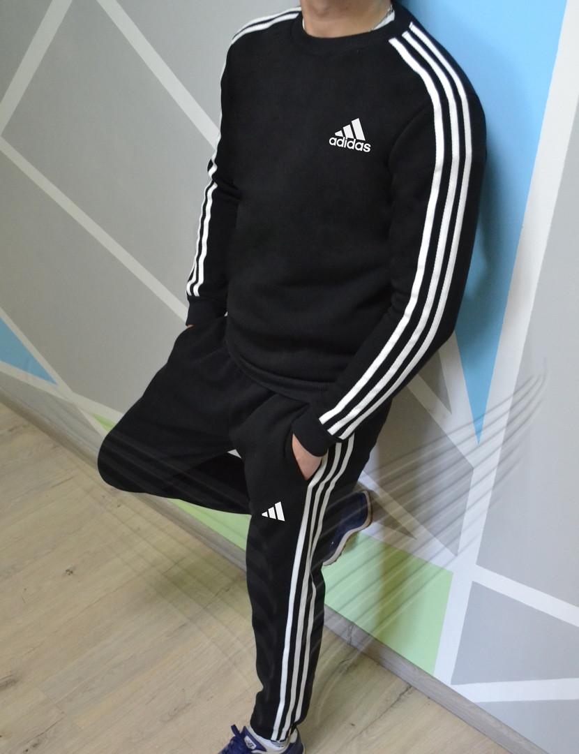 da3c09b0 Спортивный мужской теплый костюм Adidas зимний утепленный. Живое фото.  реплика