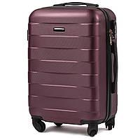 Малый пластиковый чемодан Wings 401 на 4 колесах бордовый