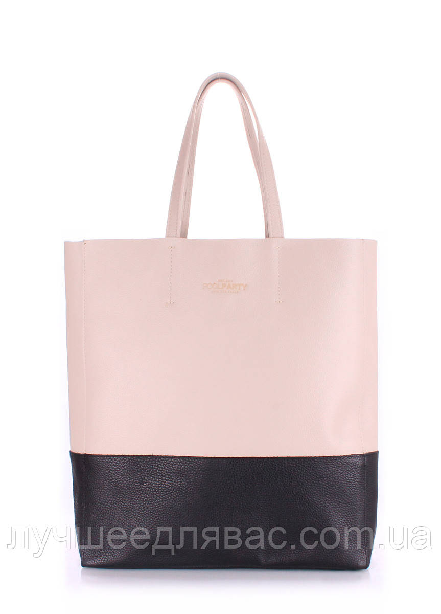 Кожаная сумка poolparty city beige-black, фото 1