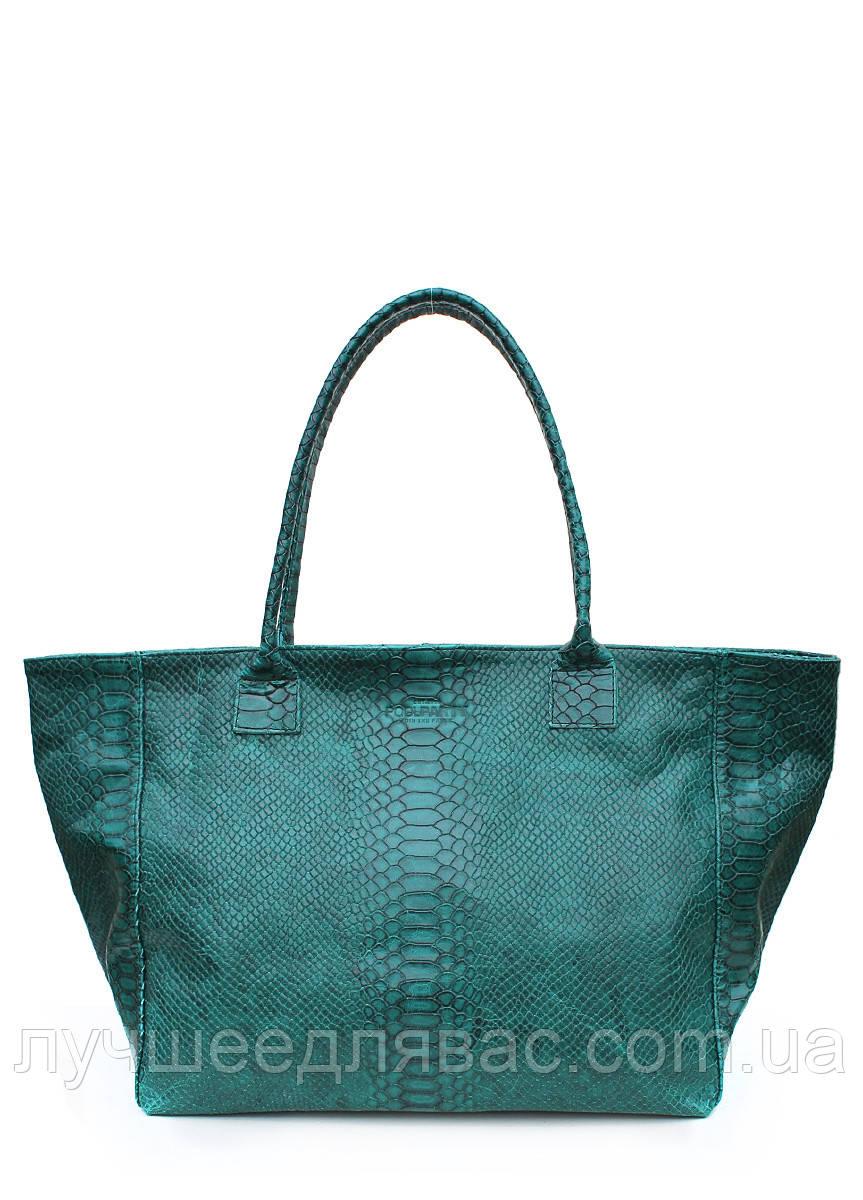 Кожаная сумка POOLPARTY Desire green-snake, фото 1