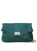 Кожаная сумочка-клатч POOLPARTY green-snake-clutch с цепочкой
