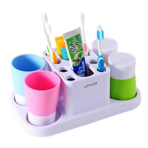 Набор принадлежностей аксессуаров для ванной комнаты с дозатором пасты Happy family Wash gargle suit RY-808, фото 2