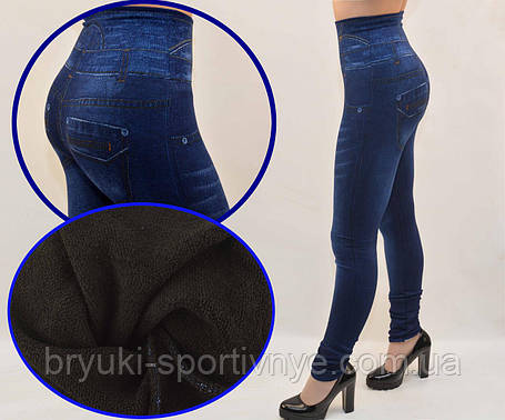 Лосины под джинс на махровой подкладке с широким поясом - завышенная талия M/L, фото 2