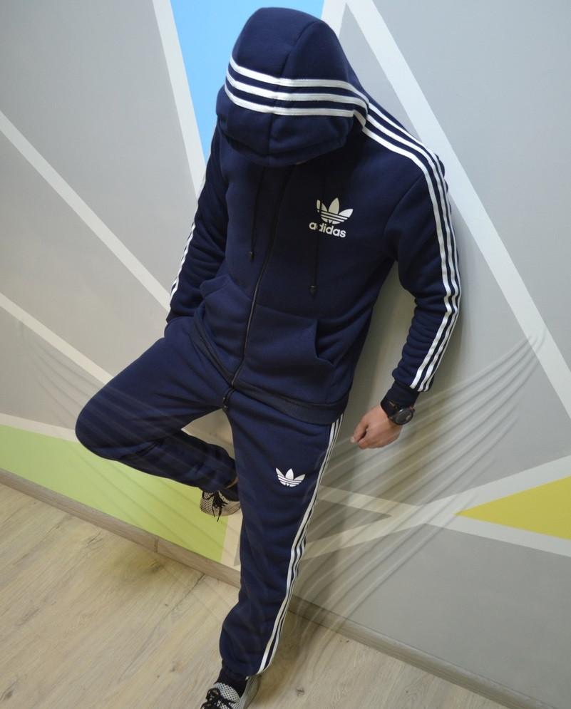 32558b5c Спортивный костюм мужской теплый Adidas с капюшоном зимний утепленный  синий. Живое фото. реплика -