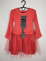 Нарядное платье на девочкуКошечка р.98-116 кораловый