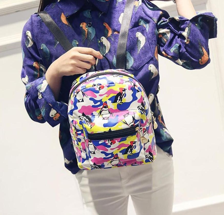 Женский маленький рюкзак с пингвинами
