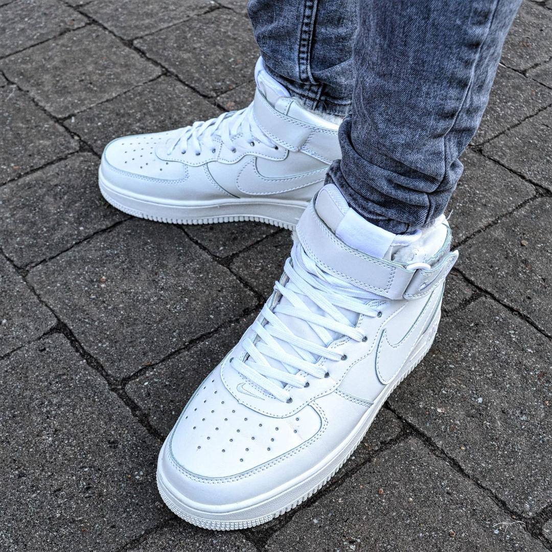 "628537d3 Зимние мужские кроссовки Nike Air Force 1 High ""White"" с мехом (Реплика  ААА+)"