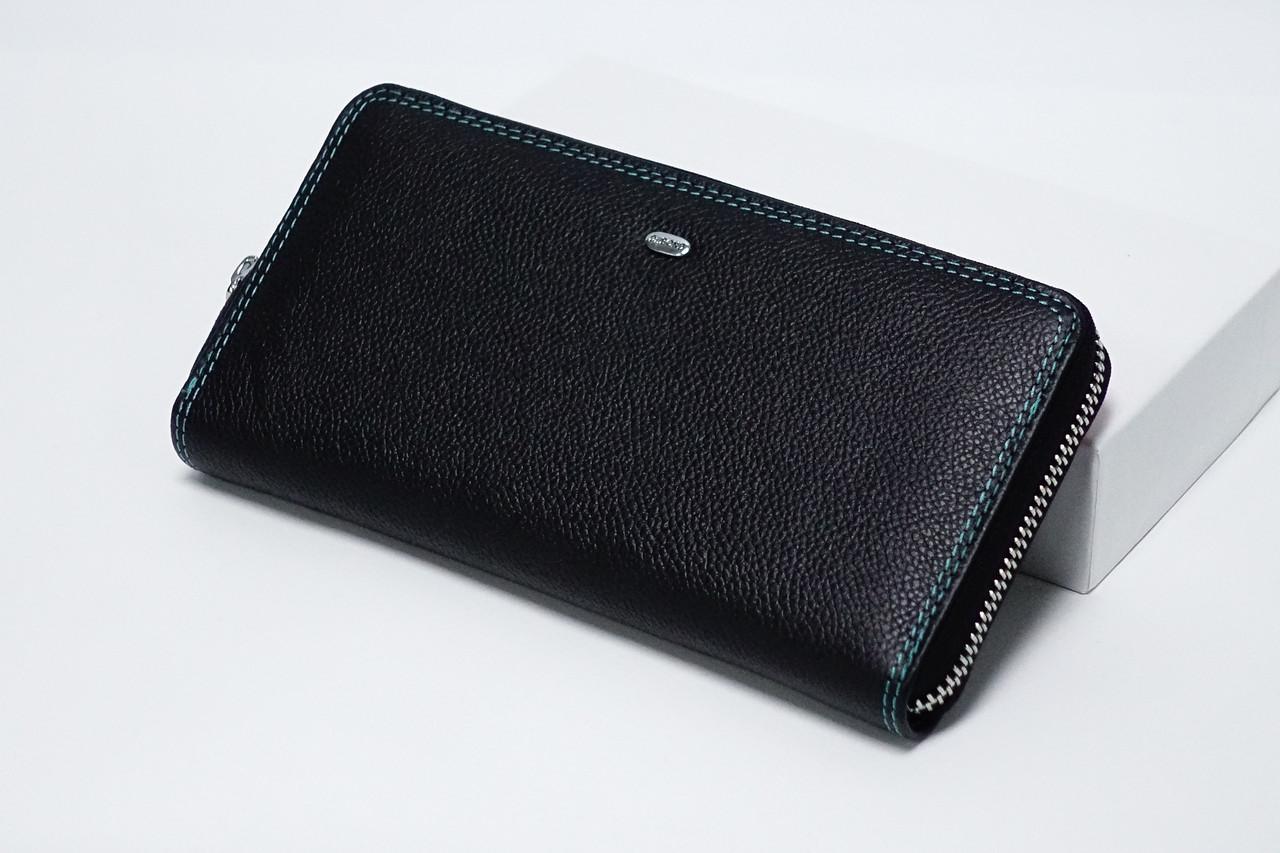 Кожаный кошелек на молнии Dr.Bond Rainbow WRS-2 Black
