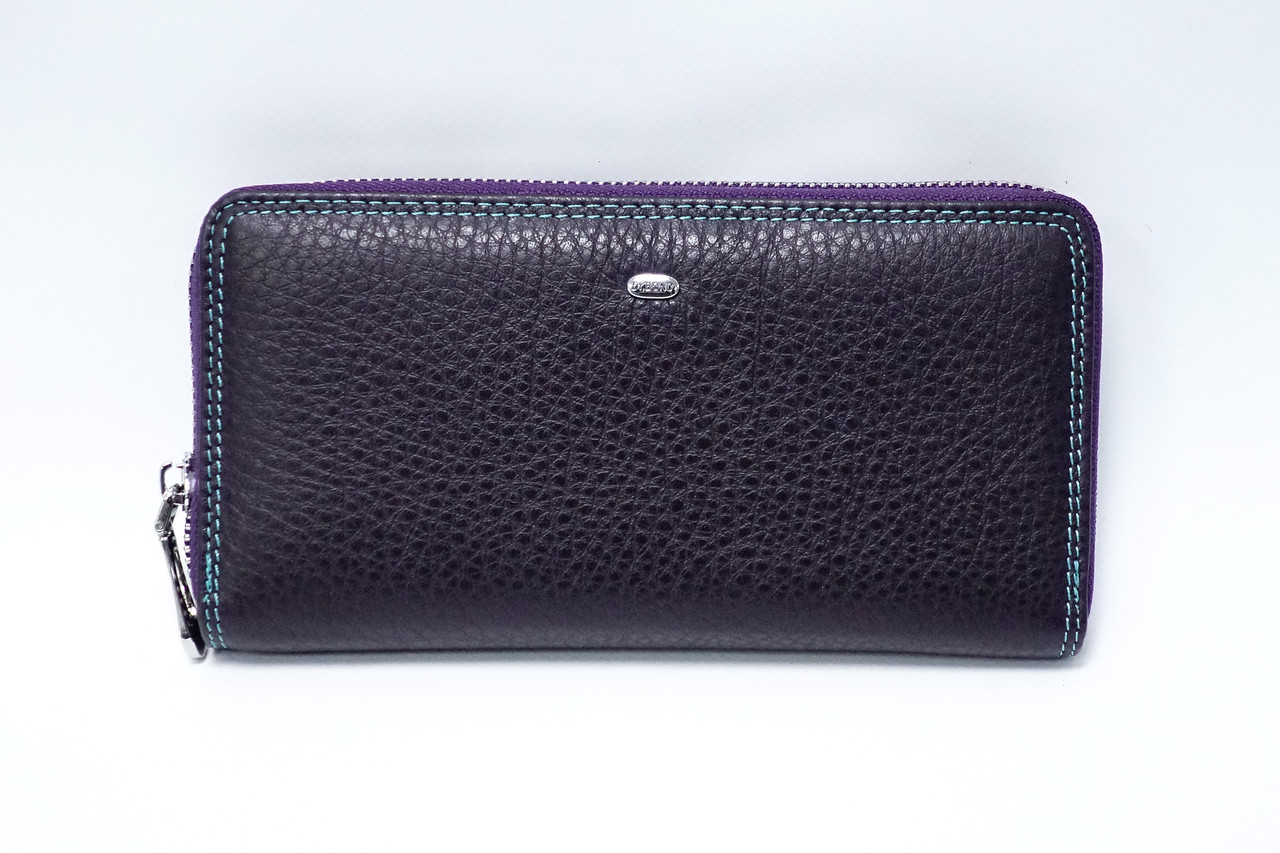 Кожаный кошелек на молнии Dr.Bond Rainbow WRS-2 Violet