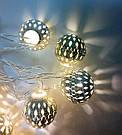 Гирлянда 20 led шар LED 20 metal WW warm white, фото 6