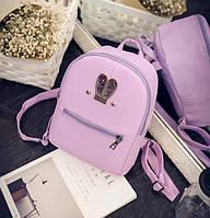 Женский рюкзачок мини с ушками Фиолетовый
