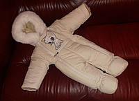 """Зимний комбинезон """"Кошечка"""" на овечьей шерсти для девочки 0-6 месяцев (рост 56-74 см). Кремовый"""