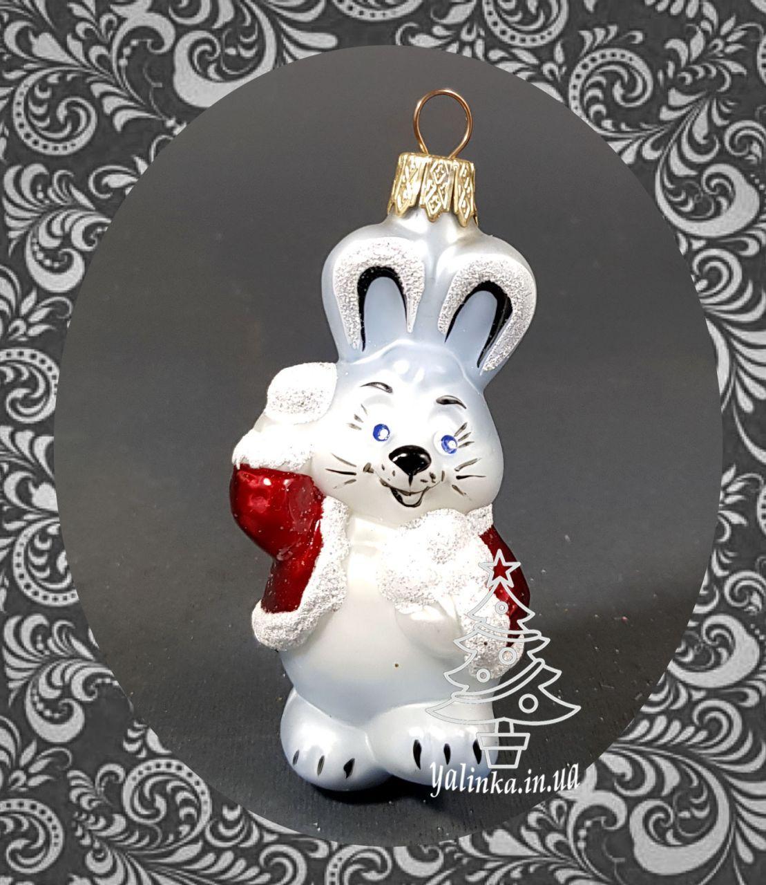 Скляна ялинкова іграшка Зайчик зі сніжками 89/м