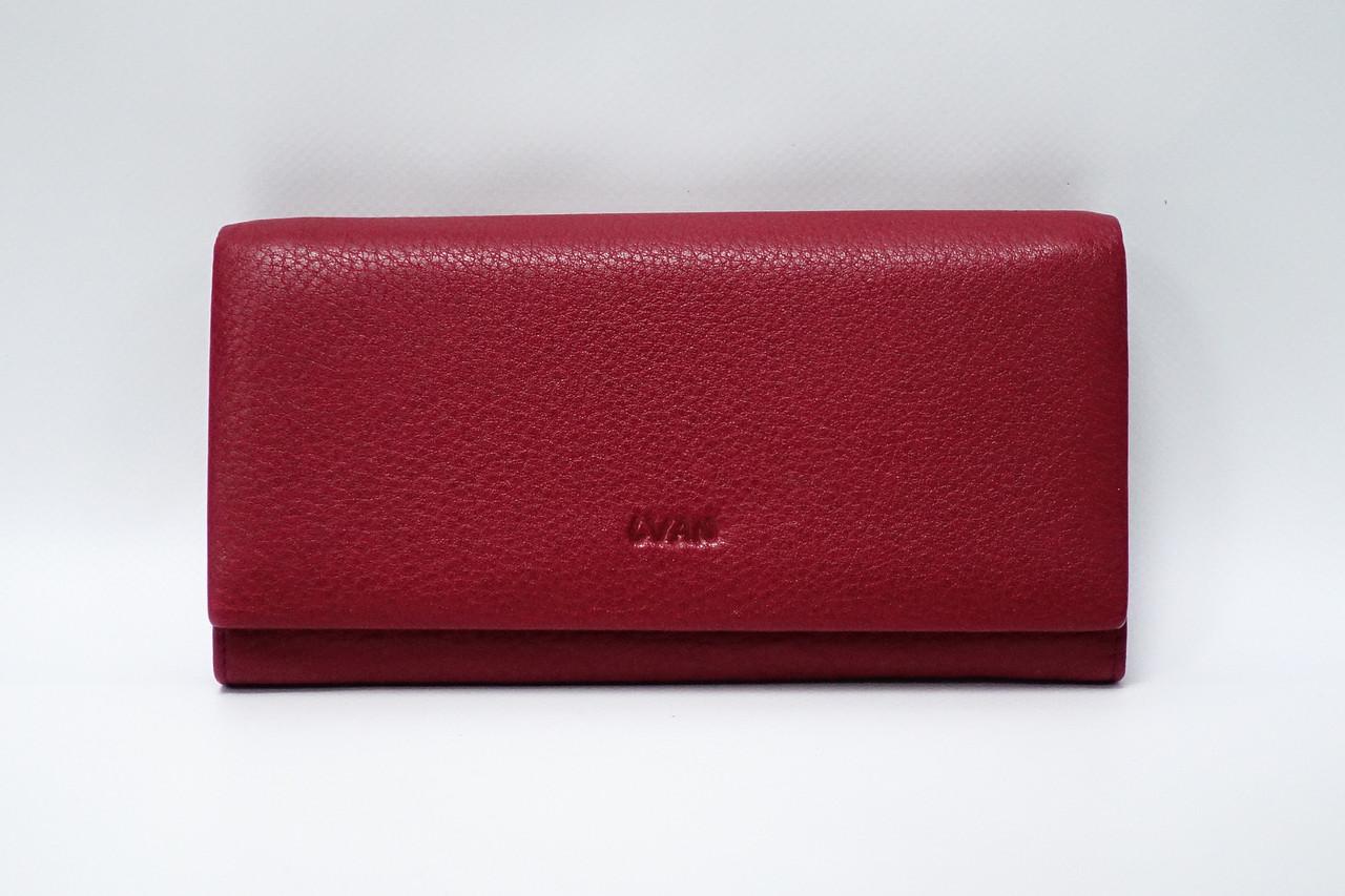 Кошелек кожаный на магните Lvan 06-223-08 красный