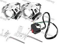 Фары прожекторы для мотоцикла CREE U5 LED 12В 3000лм + кнопка, серые, фото 1