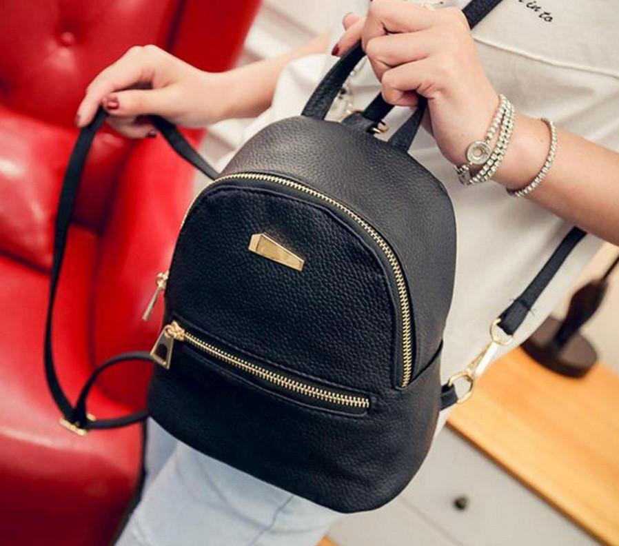 c49bf34a9c24 Маленький рюкзак женский серый ПУ кожа Черный