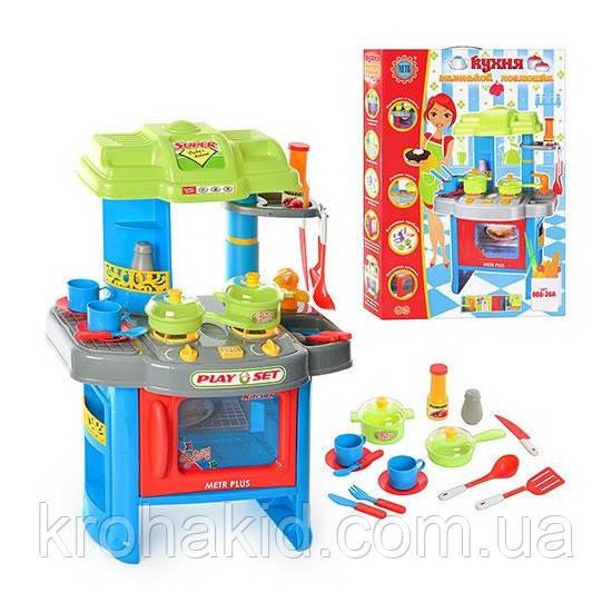 Детская игровая Кухня 008-26 синяя  (со световыми и звуковыми эффектами) раз. 63-41,5-27 см.