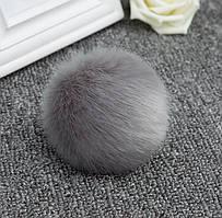 Брелок на сумку меховой шарик Серый