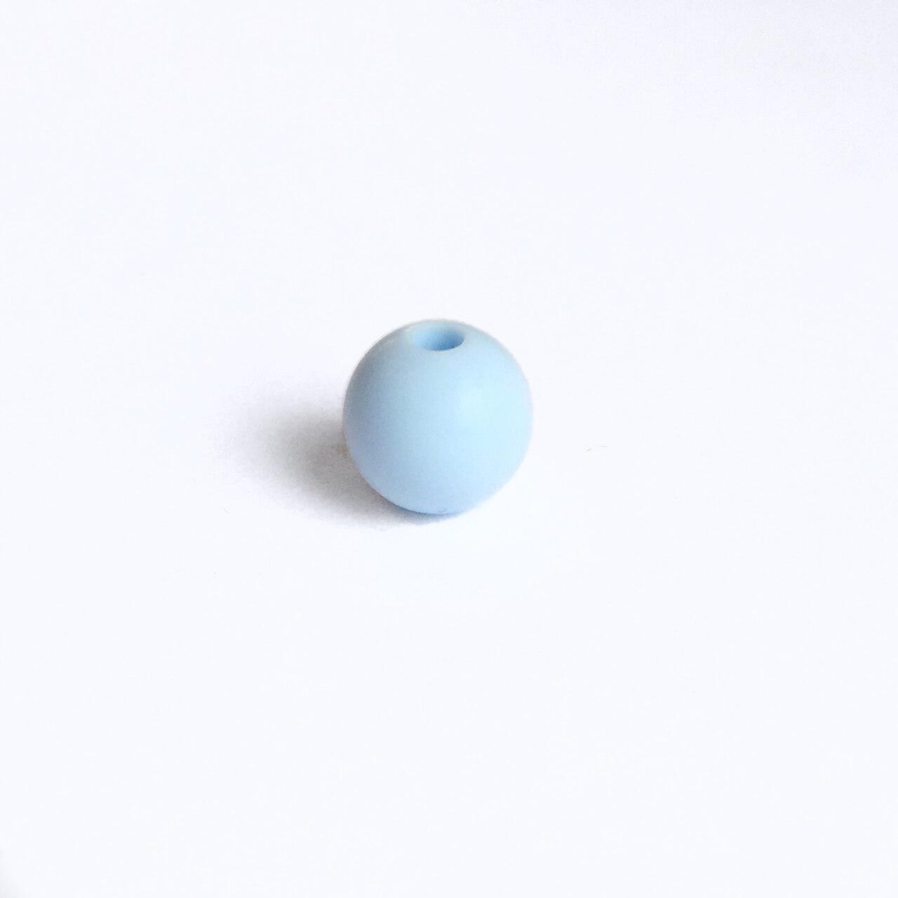 9мм (беби блю) круглая, силиконовая бусина