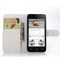 Чехол-книжка Litchie Wallet для Alcatel Pixi 3 4027D (4.5) Белый
