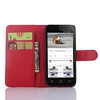 Чехол-книжка Litchie Wallet для Alcatel Pixi 3 4027D (4.5) Красный