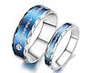 """Парные кольца """"Хранители гармонии"""" серебристо-синие"""