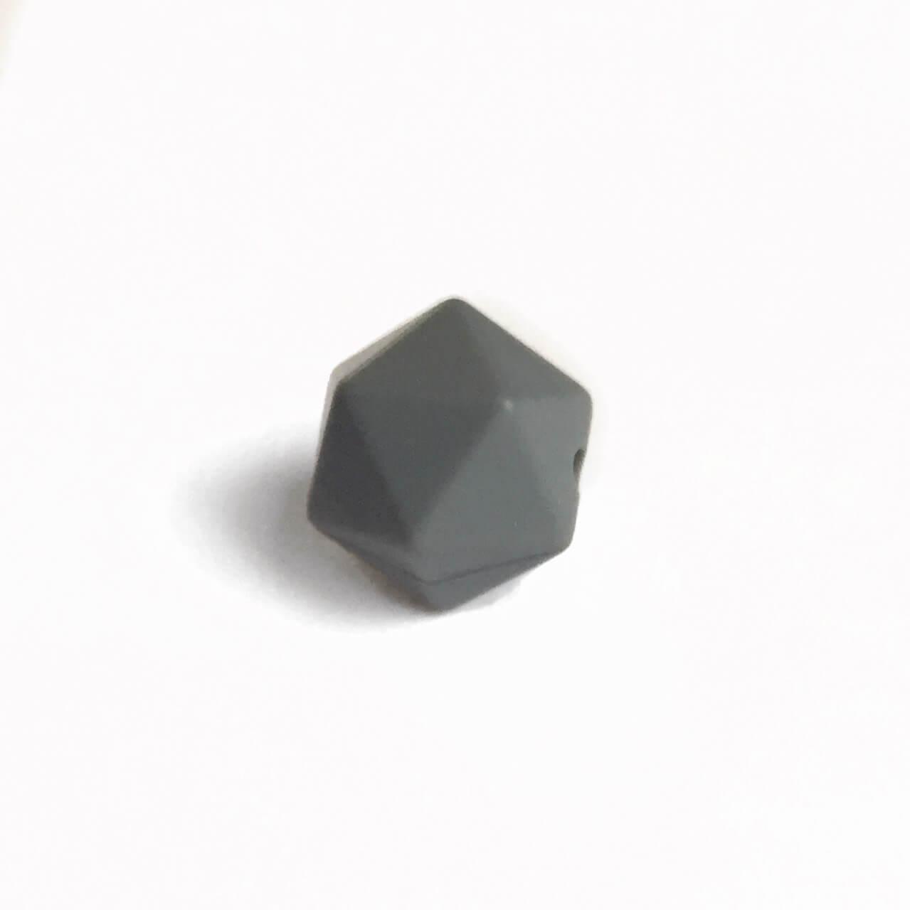 Мини икосаэдр (темно-серый) 14мм, силиконовая бусина