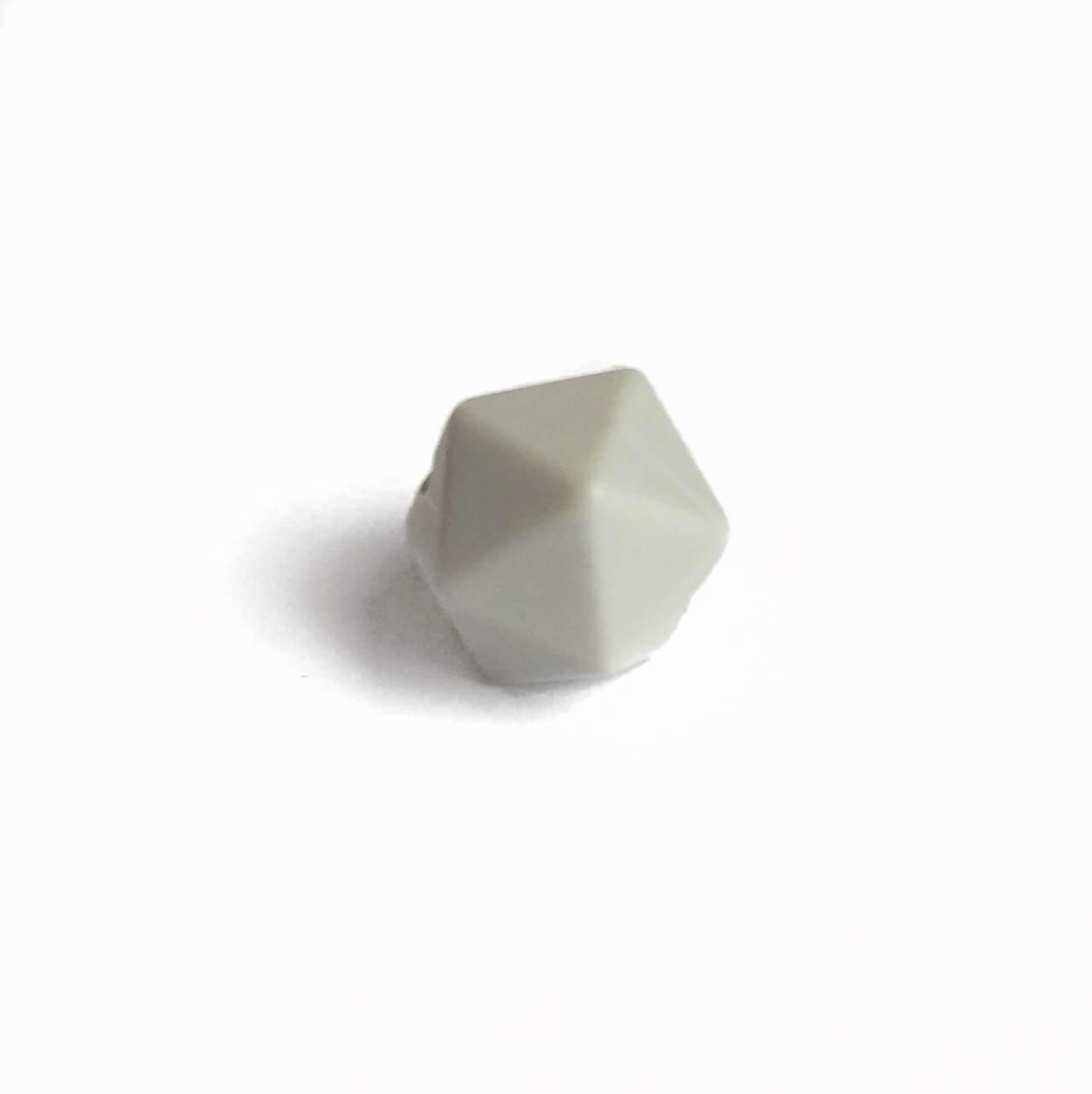 Мини икосаэдр (светло-серый) 14мм, силиконовая бусина