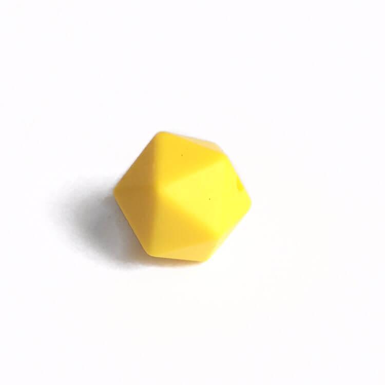 Мини икосаэдр (желтый) 14мм, силиконовая бусина