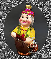 Стеклянная елочная игрушка Баба Яга