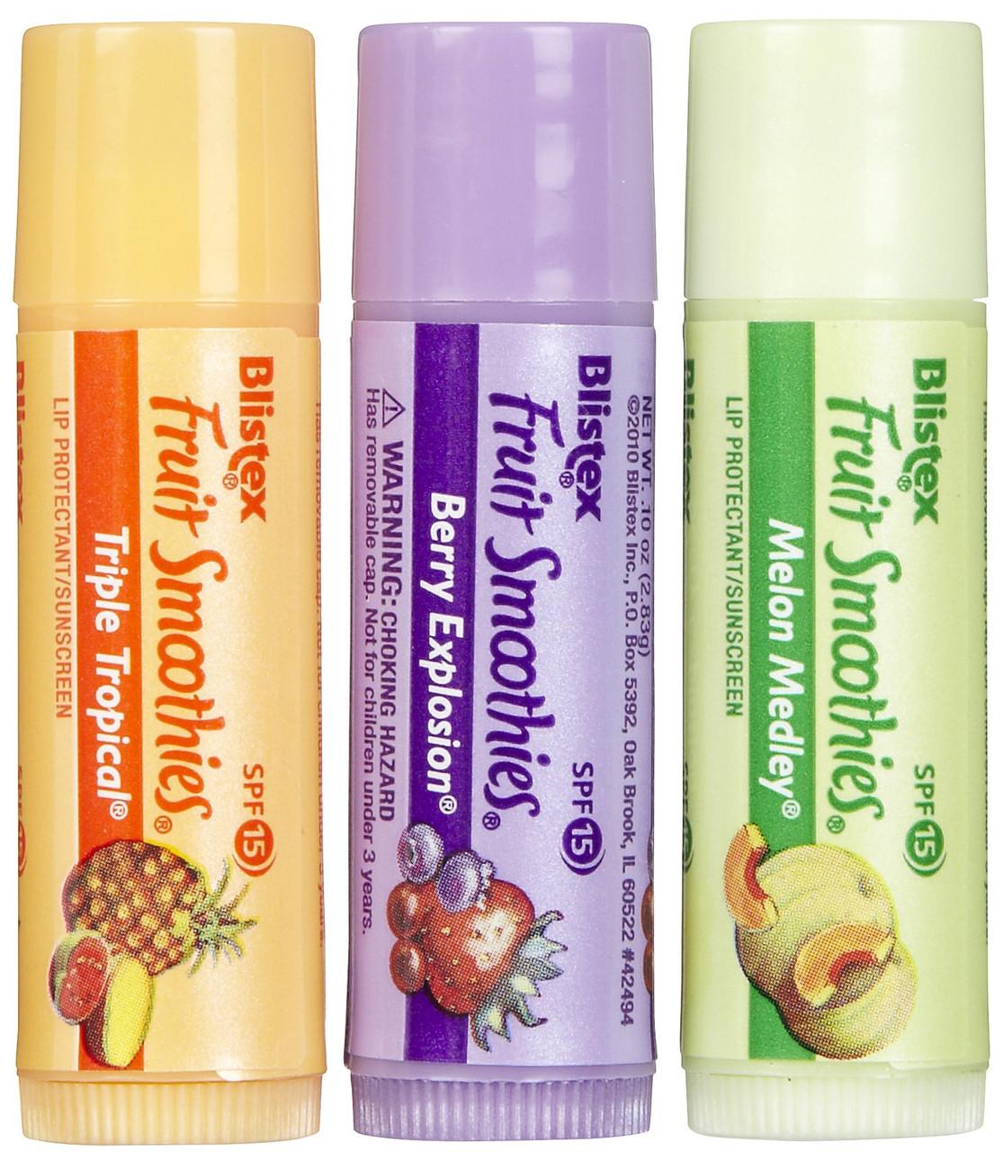 Набор защитных бальзамов-стик для губ Blistex Lip Protectant SPF 15 Fruit Smoothies Фруктовый коктейль