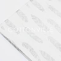 Ранфорс  240 см Перья серебристые на белом, фото 1
