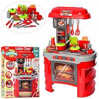 Детская игровая Кухня 008-908A красная  (свет, звук - кофеварка, тостер, посудка, продукты) - 69-45,5-26 см