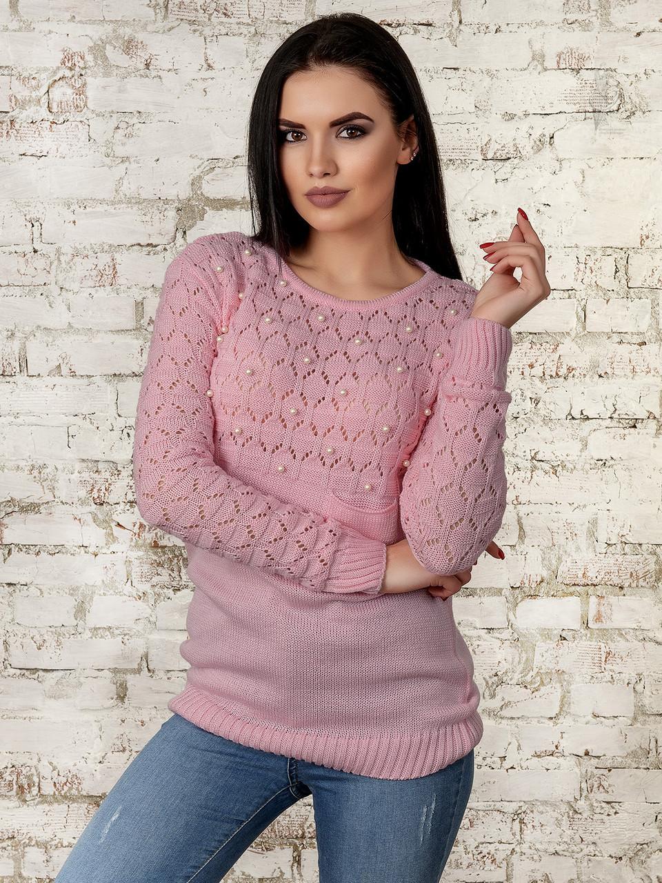 Вязаный женский свитер Дженна-2 из шерсти и акрила