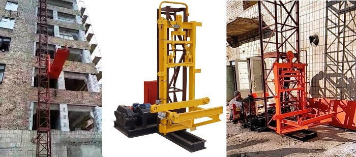 Висота підйому Н-69 метрів. Будівельні підйомники для оздоблювальних робіт з висувною платформою на 750 кг.