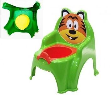 Горщик дитячий Тигр салатовий, горшок детский Долони