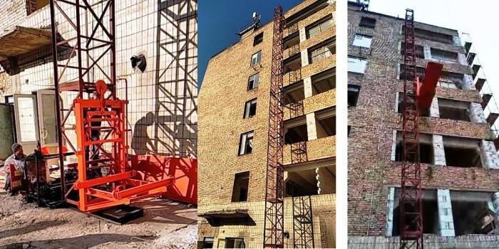 Висота підйому Н-67 метрів. Щогловий підйомник для подачі будматеріалів, будівельні підйомники на 750 кг.