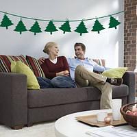 Новогодняя виниловая наклейка Елочки на скрепках (новогодний декор интерьера, стен, окон, витрин) 800x162 мм, матовая