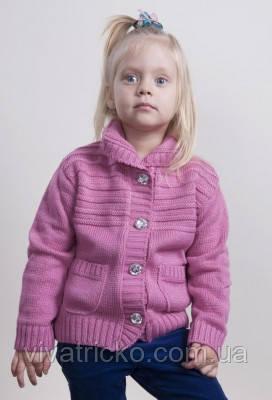 Теплая кофта для девочки вязанная на рост 104-122